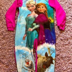 Disney Frozen zip up Fleece footie pajamas
